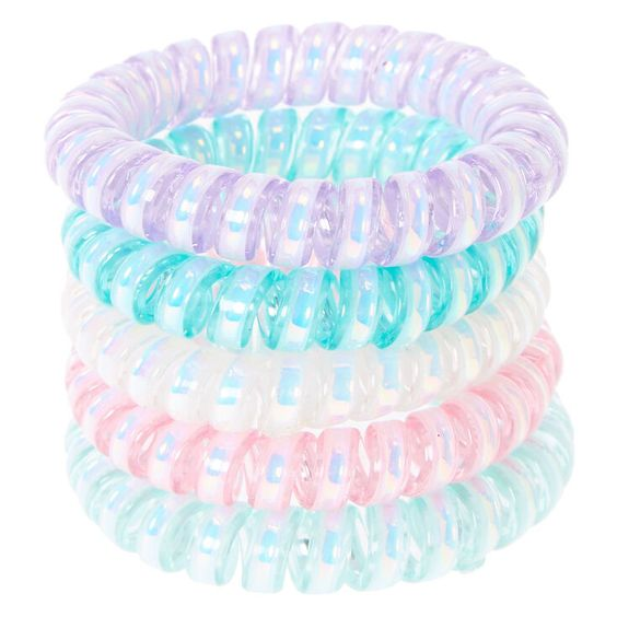 Claire's Club Pearled Spiral Hair Ties - 5 Pack