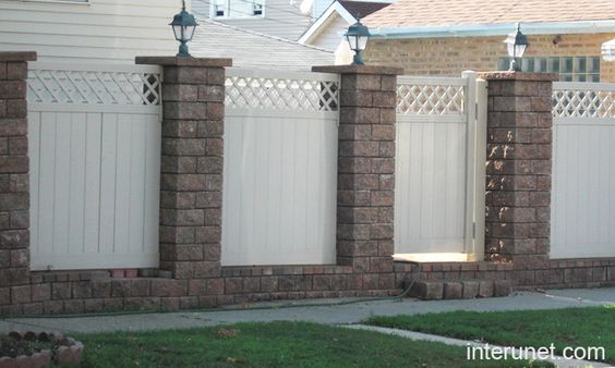Vinyl fence pictures fences brick vinyl fence previous for Brick and wrought iron fence designs