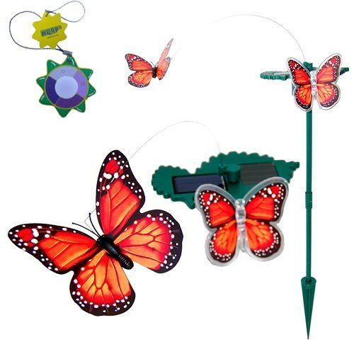 """HQRP Duo (Combo) Orange LED Light and Fluttering Butterflies /Solar and Battery Powered Stake for Plant Flowers / Garden / Yard Decor + HQRP UV Tester by HQRP. $10.95. Switch to """"LED"""" mode and a butterfly will flutter. When it gets dark outside LED light butterfly automatically turns on.. Perfect for accenting decks, pathways, lawns and borders at night.. Powered by Solar Panel or AA Battery (not included);. HQRP® LED Light and Fluttering Monarch Butterflies Powered by Sun or ..."""