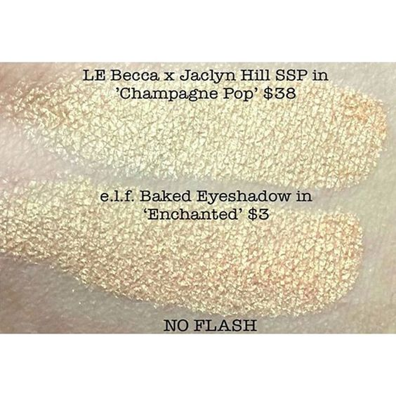 """WOAH! Check out this dupe that @jorgieechristianos shared with us!  @elfcosmetics baked eyeshadow in """"Enchanted"""" looks JUST like Becca x Jaclyn Hill """"Champagne Pop"""" and with a $35 price difference! Tag us in your dupes for a chance to be featured.  by dupethat"""
