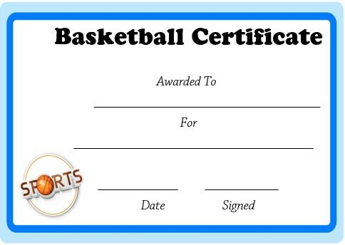 Microsoft Word Basketball Certificate Template  Basketball