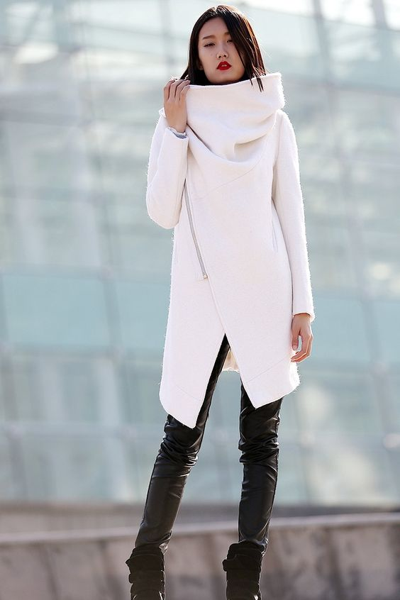 Winter White Wool Coat - Modern High Collar Cowl Neck Warm Womens