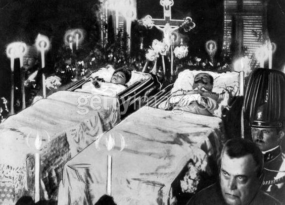 The funeral for the Archduke of Austria and his pregnant wife Sophie.   The assassinations sparked the beginning of World War I.