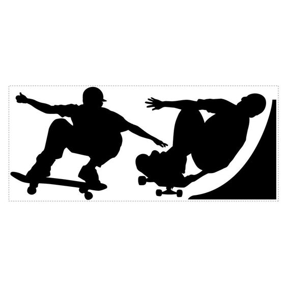 Chalk Board Skaters Peel & Stick Applique, Black