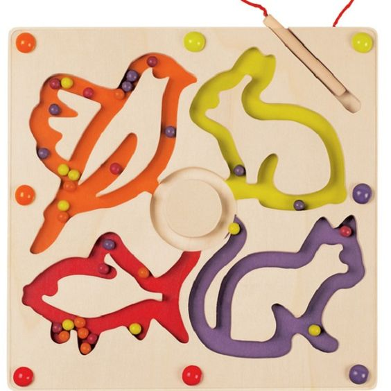 A brilliant and fun magnetic game! Use the wand to move your beads through the labyrinth and follow the shapes of a bird, rabbit, fish and cat. Kids will love moving the beads around the board and it will encourage fine motor skills and aptitude.   All Janod toys are designed in France and manufactured to strict quality and safety standards, meeting both European and Australian requirements.
