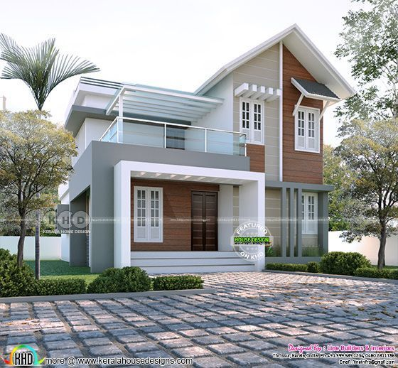 Mixed Roof 3 Bhk 1491 Sq Ft House Rendering In 2020 Small House Design Kerala House Roof Design Bungalow House Design