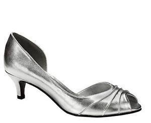 Details about WIDE WIDTH Silver Instep Cutout Pleated Front Peep ...
