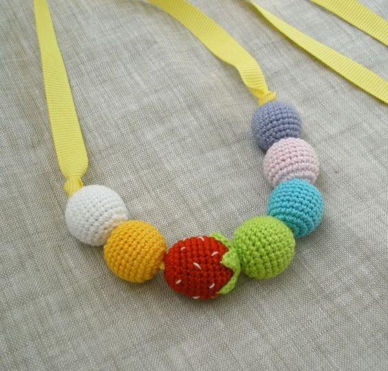 Amigurumi Strawberry Rainbow necklace-- cute!