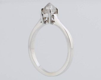 3/4ct .75ct Octahedron Natural Raw Rough Diamond Handmade 14K White Gold Cathedral Style - Engagement Ring - Wedding Ring - Made to order