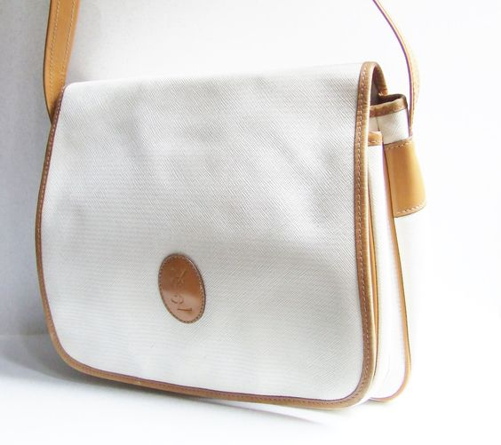 yves st laruent - 1980 vintage YSL bag Yves Saint Laurent bag white and caramel ...