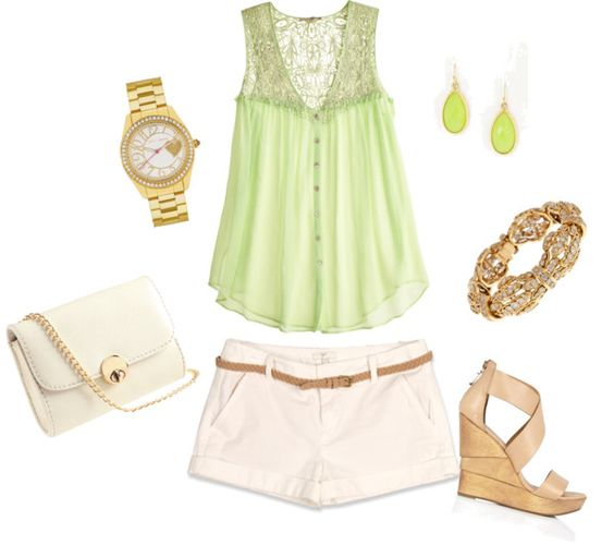 green and gold:), created by jennasims38 on Polyvore