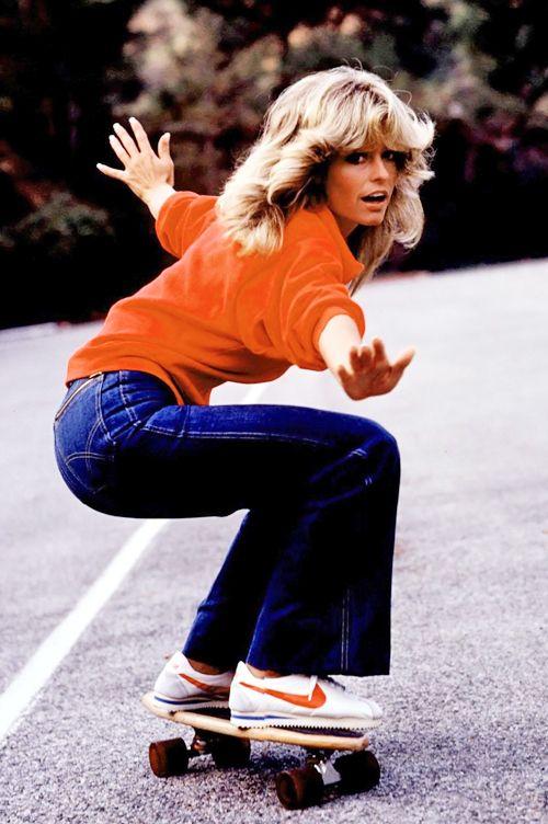 Farrah Fawcett practices skateboarding for an episode of Charlie's Angels c. 1977