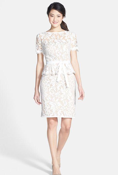 Tadashi shoji wedding dresses lace peplum and wedding on for Tadashi shoji wedding dresses