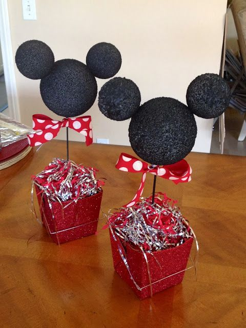 Mickey Mouse Birthday Party - centerpieces made with ...
