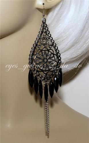 Long earrings black filigree