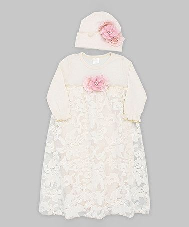 Look what I found on #zulily! Ivory Floral Gabriella Gown & Beanie by Truffles Ruffles #zulilyfinds
