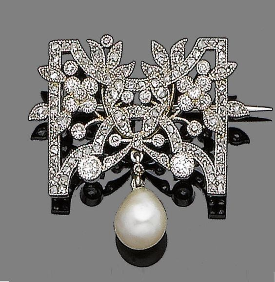 A Belle Epoque diamond and pearl brooch, early 20th century. Of openwork floral design, millegrain-set throughout with old brilliant and rose-cut diamonds, suspending a pearl drop, French assay mark, length 2.8cm. #BelleÉpoque #brooch
