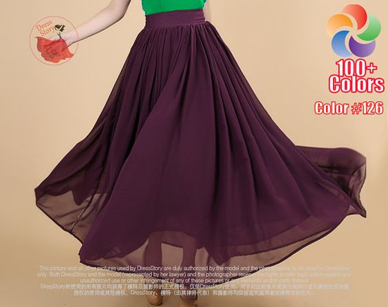 Púrpura Falda larga con cintura ancha Yugo - falda larga de color púrpura - falda púrpura oscuro - de la gasa de la falda maxi-Full longitud de la falda de la cintura con el yugo SK194