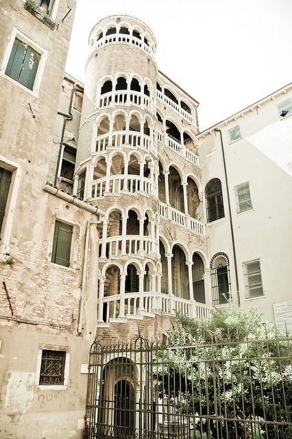 Venice staircase. Lacy, twisty, plenty of little white arches because they can. The Lace Tower.