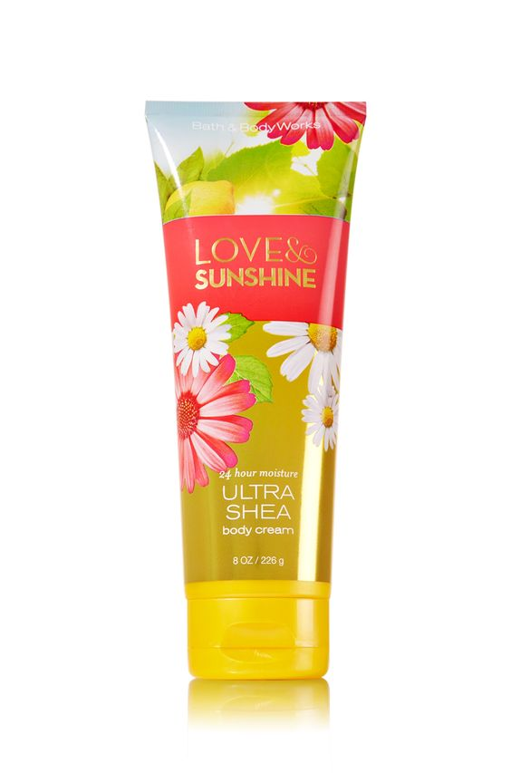 Bath & Body Works Love & Sunshine Ultra Shea Body Cream | A bright, happy blend of sun-kissed daisies, fresh lemons and sweet strawberries, guaranteed to make you smile! | Top Notes: Pear Blossom, Mara Strawberry, Juicy Kiwi, Sweet Lemon, Honeydew Melon Mid Notes: Sunkissed Daisies, Lily of the Valley, Golden Honeysuckle Dry Notes: Coconut Orchid, Amber Woods, Cedar Wood, Sunshine Musk