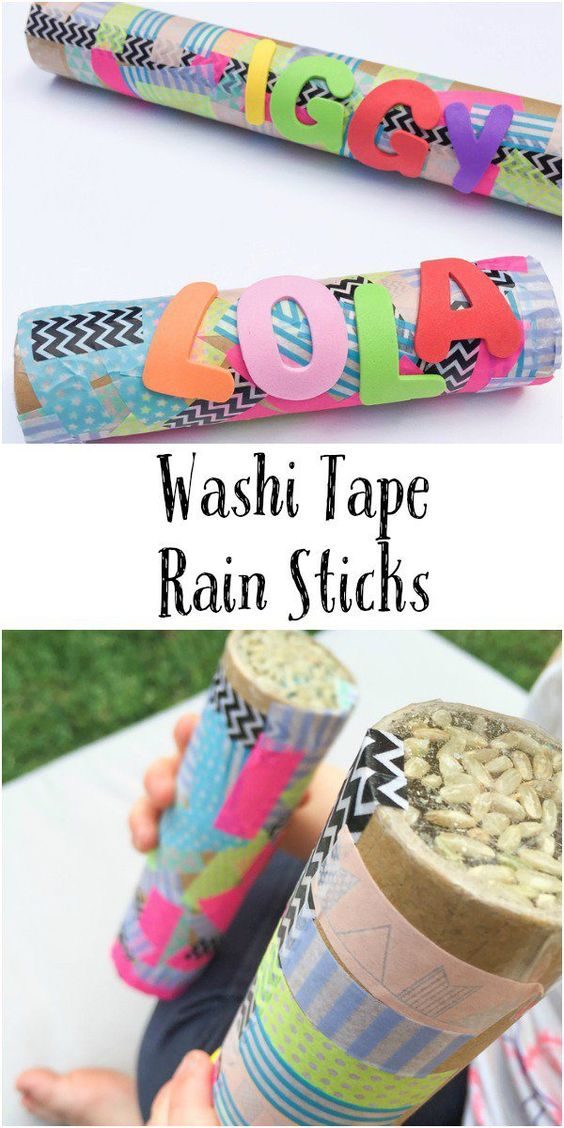 Easy Washi Tape Rain Sticks craft for kids. Fun DIY musical instrument made from recyclables: