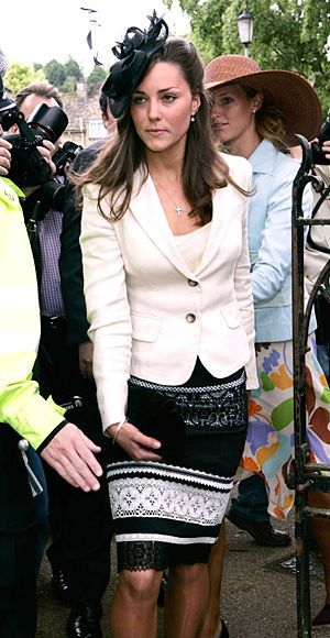 Not long after her graduation from St. Andrew's University, Kate celebrated the wedding of Hugh van Cutsem to Rose Astor in a white blazer and a graphic black skirt with lace lining. She topped off the look with a black fascinator.