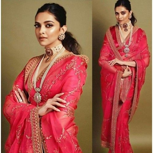 Red pure georgette embroidered bollywood stylist wedding saree