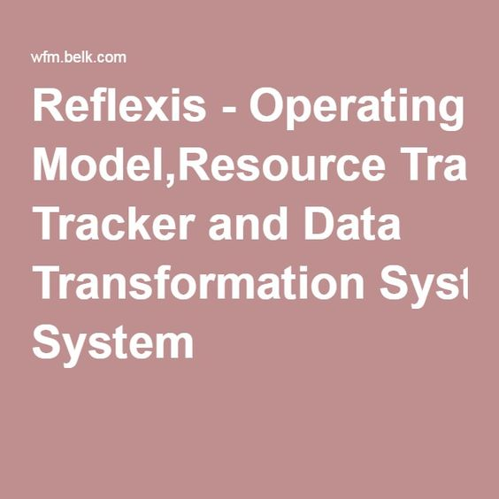 Reflexis - Operating Model,Resource Tracker and Data Transformation System