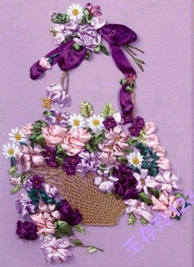 Ribbon basket of flowers french work embroidery