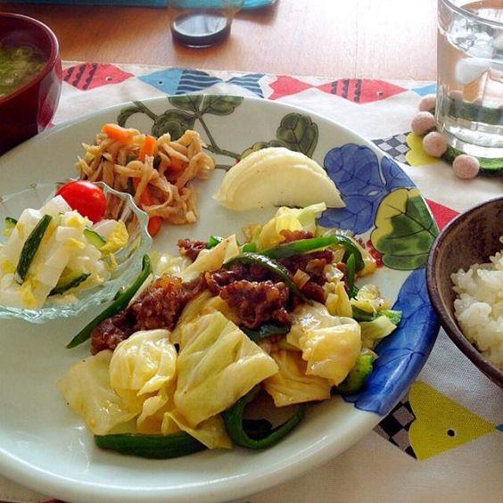 牛肉の切り落としが余っていたので、下味をつけてお野菜と炒めました。  *中華風牛肉の野菜炒め *大根のサラダ、プチトマト *切り干し大根の煮物 *大根と人参とエノキのお味噌汁 *大根の漬け物 *炊きたて白ごはん - 9件のもぐもぐ - 中華風野菜炒めと常備野菜deお昼ごはん by Takayumi
