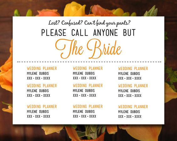 Please Call Anyone But the Bride - DIY Wedding Information Card ...