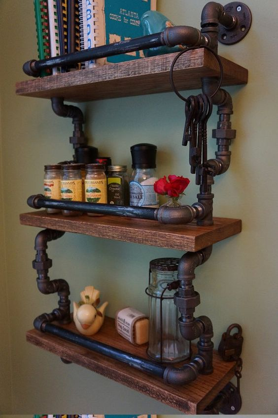 Shelf Ideas Industrial And Accent Colors On Pinterest