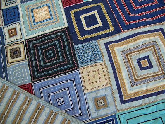 Cape Pincushion: Shirt stripe boxes quilt
