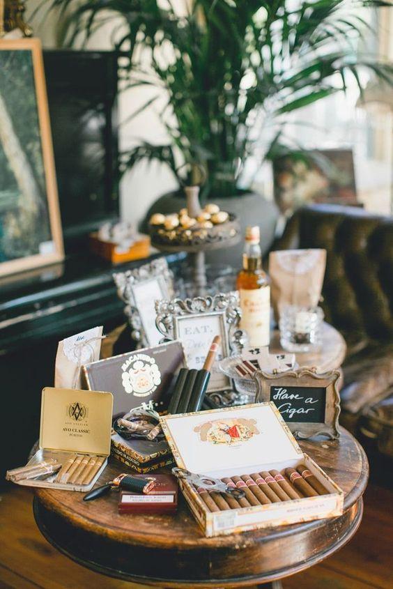 For the Groom & Groomsmen || Wedding Cigar & Whiskey Bar || Vintage Wedding Reception Decor