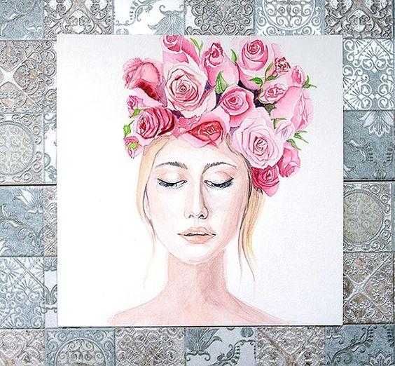 Watercolor girl in flowers  Original от IllustrationLili на Etsy