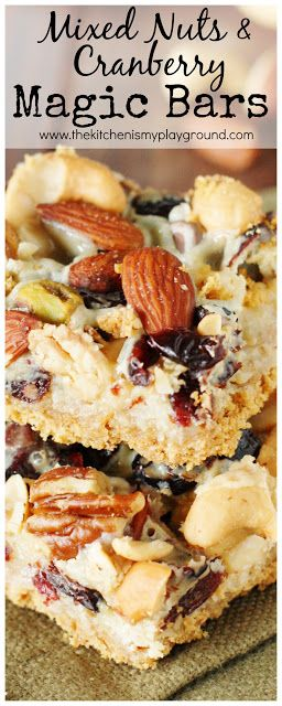 Mixed Nuts & Cranberry Magic Bars ~ perfect for celebrating the Fall and holiday seasons!  www.thekitchenismyplayground.com