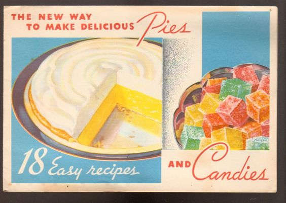 Advintage Plus - 1934 Knox Sparkling Gelatine Recipe Brochure Pies and Candies, $9.00 (http://www.advintageplus.com/1934-knox-sparkling-gelatine-recipe-brochure-pies-and-candies/)