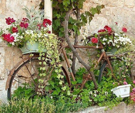 Les vieux vélos ne se jettent plus, ils s'exposent dans les jardins ornés de toutes sortes de fleurs ou servent de supports pour pancartes.. La grande tendance du moment c'est de ressortir les vieux vélos du garage et des les exposer au jardin. A l'état brut dans leur jus, ou repeints e...