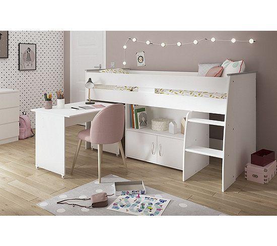 Lit Combine Avec Bureau 90x200 Cm Loan Blanc Lit Combine Enfant Lit Combine Lit Enfant