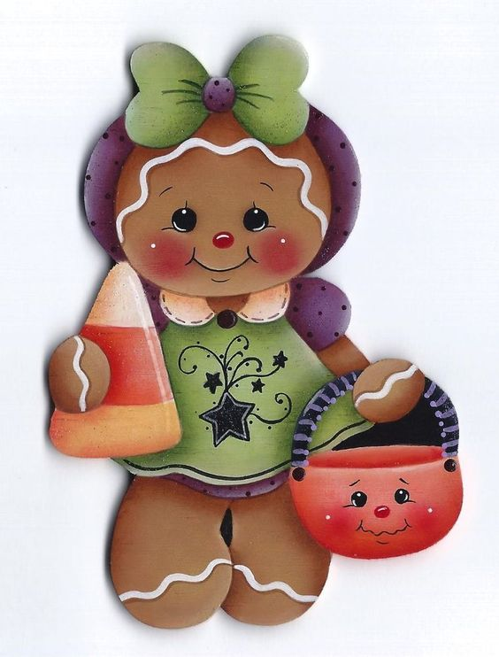 HP GINGERBREAD with Candy Corn FRIDGE MAGNET #Handpainted