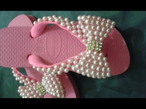 Chinelo decorado - manta de pérolas peep toe - YouTube