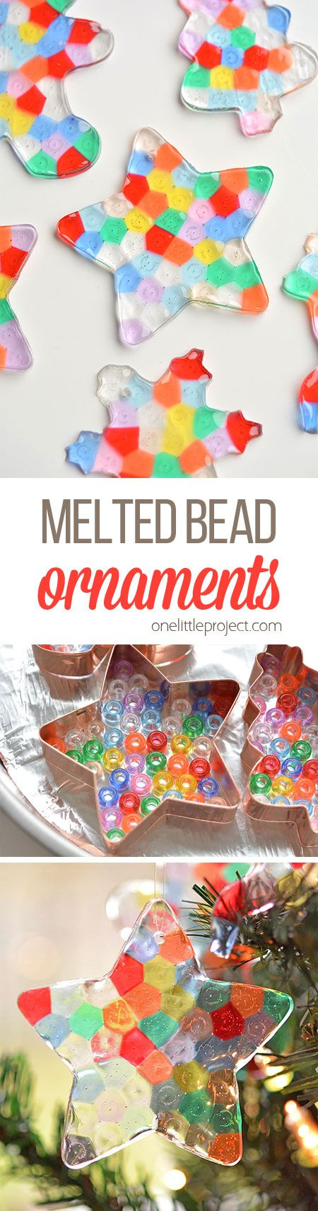These melted bead ornaments are SO BEAUTIFUL! And they're so easy to make with pony beads! You can hang them on the Christmas tree, or use suction cup hooks on the window to turn them into sun catchers.: