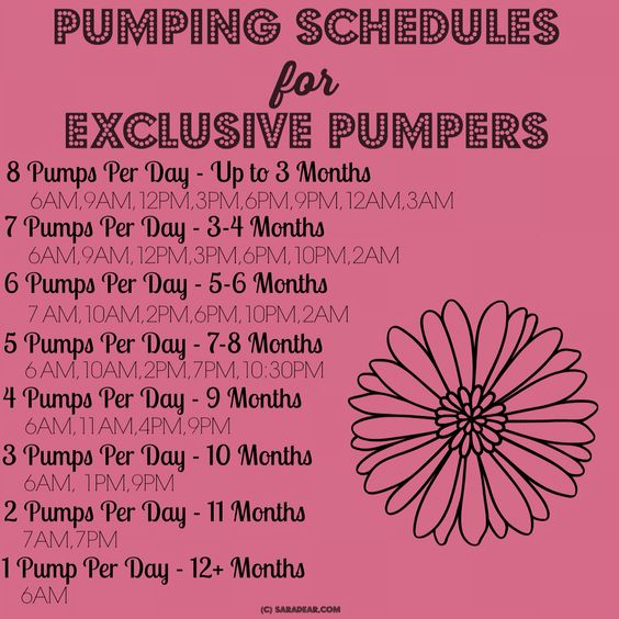 Breastfeeding / exclusively pumping schedule: