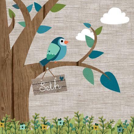 Geboortekaartje Seth www.hetuilennestje.nl. Vogeltje, Boom, Illustratief, blauw, groen, vogel, blaadjes, dieren, stofjes, hout, jute, wolken, jongetje.