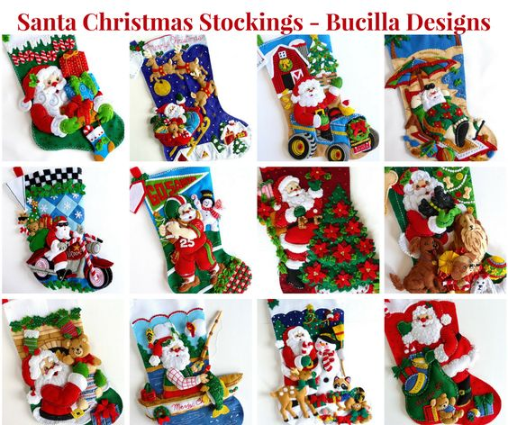Santa Claus Felt Stockings Bucilla Designs