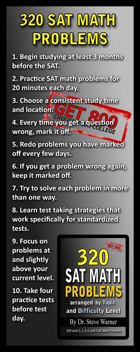Dr. Steve Warner - 320 SAT Math Problems - Available on Amazon: http://www.amazon.com/gp/product/1470002310/ref=as_li_tf_tl?ie=UTF8tag=drstssamaprpa-20linkCode=as2camp=1789creative=9325creativeASIN=1470002310/ref=sr_1_21?s=booksie=UTF8qid=1363297086sr=1-21keywords=sat+math