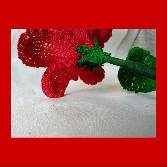 Ganchillo flor patrón Chevron rojo hibisco por FCFCrochetFlowers