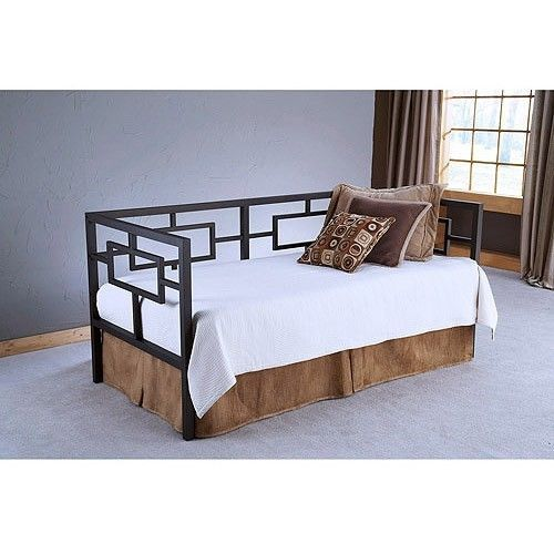 Day Bed Bedroom Furniture Space Saving Contemporary Black Nickle Geometric New