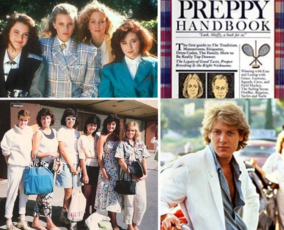 1980's FASHION | Clockwise from top left: Heathers, The Preppy Handbook, Pretty in ...