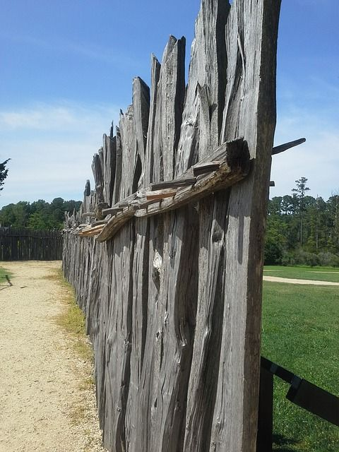 Sideview of Wooden Barricade Fence at Jamestowne Fort, Jamestown, Virginia